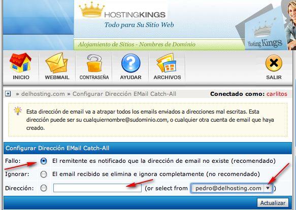 Configurar Dirección Email Catch-All