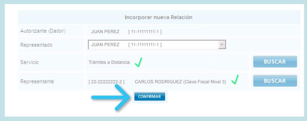 Incorporar nueva relacion - Confirmar - AFIP